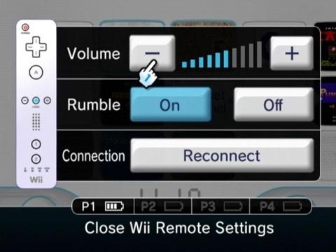 Wii remote volume e sensibilidade